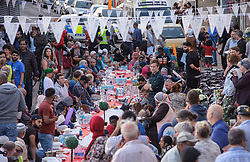 June 22, 2017 - Bristol, Bristol, UK - Bristol, UK. 'The Big Iftar 2017' in St Marks Road, Easton, Bristol, marking the end of the muslim holy month of Ramadan when muslims fast from dawn until sunset. It is believed this is the first time in the UK that the event includes a meal held in the street and shared with all communities including non-muslims. It is hosted by Easton Jamia Masjid with partners including Bristol4Muslims, we care foundation, Karam Kitchen, and aims to bring people from different backgrounds and cultures together to share good food and learn from each other. Ramadan is a month of sharing, hospitality, charity giving and creating new friendships, and the Big Iftar is a great way of achieving these goals while breaking down barriers that may exist within communities. Visitors were also given a grand tour to the newely refurbished mosque located in the heart of Easton. Picture credit : Simon Chapman/LNP (Credit Image: © Simon Chapman/London News Pictures via ZUMA Wire)
