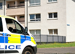 Murder Investigation, Blackburn, West Lothian, 13 June 2021<br /> <br /> A murder investigation is underway after a body was found in a flat in Mosside Drive, Blackburn, West Lothian at the weekend.<br /> <br /> The flat, just across the road from a filming location of the movie Trainspotting 2, is cordoned off and has a police presence.<br /> <br /> Alex Todd | Edinburgh Elite Media