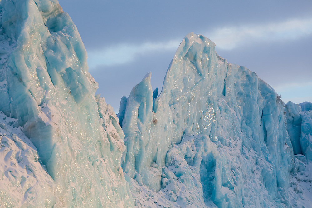 Pinnacles of ice at the tidewater terminus of Tunabreen, Svalbard.