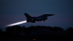 April 26, 2017 - Okinawa, Japan - A Republic of Korea F-16 Fighting Falcon jet takes off for a night training sortie during Exercise MAX THUNDER from Kunsan Air Base April 26, 2017 in Gunsan, South Korea. U.S. and Allied Forces across the Asian region have increased combat exercises as tensions continue to rise between the U.S. and North Korea. (Credit Image: © Lcpl. Carlos Jimenez/Planet Pix via ZUMA Wire)