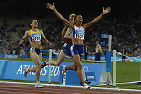 Kelly Holmes (GBR) wins the Womens 1500m final from Tatyana Tomashova (Russia) and Maria Cioncan (Romania), Athletics, Athens Olympics, 28/08/2004. Credit: Colorsport / Matthew Impey DIGITAL FILE ONLY