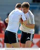 30 May 2013; Owen Farrell and Jonathan Sexton, left, British & Irish Lions, during squad training ahead of their game against Barbarian FC on Saturday. British & Irish Lions Tour 2013, Squad Training, Aberdeen Sports Ground, Aberdeen, Hong Kong, China. Picture credit: Stephen McCarthy / SPORTSFILE
