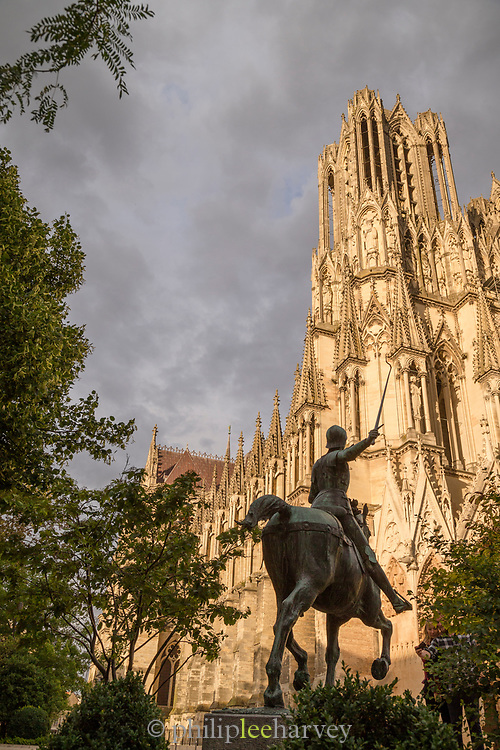 Statue Of Joan Of Arc outside Cathedral of Notre-Dame in Reims, France