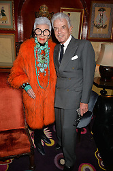 IRIS APFEL and NICKY HASLAM at an exclusive dinner for Iris Apfel held at Annabel's, Berkeley Square, London on 29th July 2015.