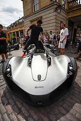 © Licensed to London News Pictures. 04/08/2018. LONDON, UK. A BAC Mono parked up in Covent Garden for Gumball 3000, a charity race for supercars and more.  150 cars will journey from London to Tokyo in a race which commences on Sunday 5 August.  Photo credit: Stephen Chung/LNP