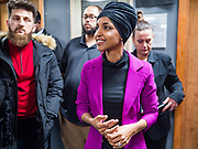 31 JANUARY 2020 - DES MOINES, IOWA: U.S. Representative ILHAN OMAR (D-MN) at the Muslim Community Organization Mosque in Des Moines. She was there speaking on behalf of Senator Bernie Sanders' presidential campaign. Rep. Omar has campaigned for Senator Sanders in Iowa and Minnesota. The Iowa caucuses are Feb. 3.    PHOTO BY JACK KURTZ