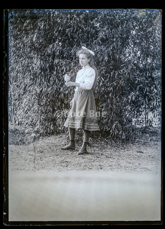 young adult girl posing with a dove France ca 1920s
