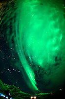 Northern Lights in Tromvik, Norway. Image taken with a Nikon D800 and 16 mm f/2.8 fisheye lens (ISO 1000, 16 mm, f/2.8, 15 sec).
