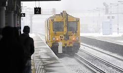 © Licensed to London News Pictures. 18/01/2013.Orpington Train Station with heavy snow as a snowblower clears the snow from tracks..South Eastern services from London Cannon Street to Sevenoaks, Kent, are terminating at Orpington because of the snowy weather..Snow fall in Orpington, South East London/Kent over night..Snow in Orpington and across the UK today (18.01.13) as  temperatures stay low..Photo credit : Grant Falvey/LNP