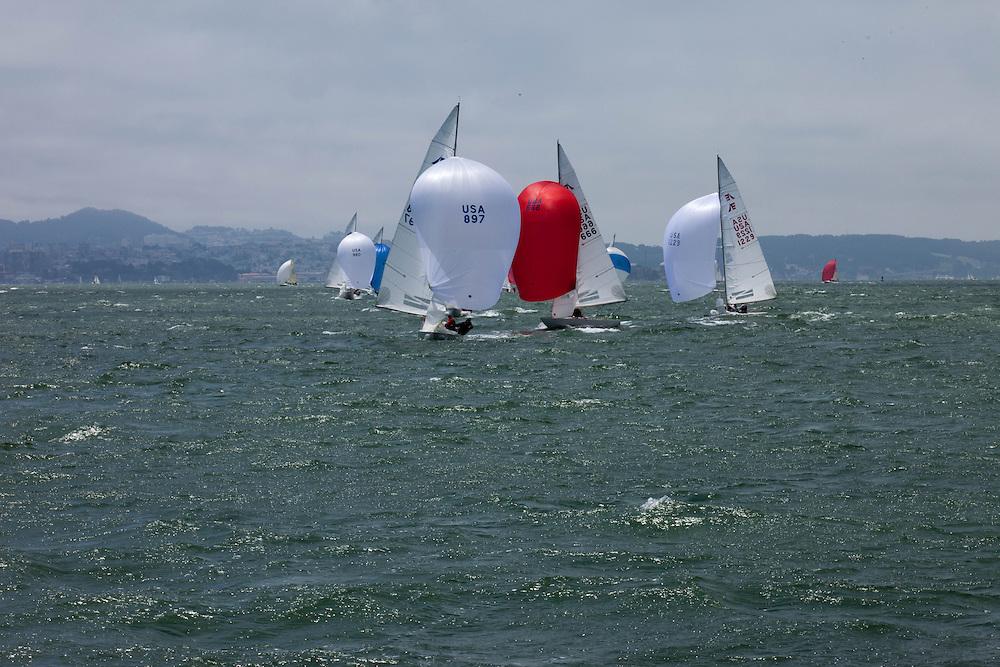 International Etchells Class sailing in the San Francisco Bay.