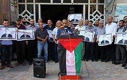 October 2, 2018 - Gaza City, Gaza Strip, Palestinian Territory - Palestinians take part during a protest to solidarity with Palestinian prisoner Raja Aghbarieh who was held in Israeli jails, in Gaza city on October 2, 2018  (Credit Image: © Mahmoud Ajjour/APA Images via ZUMA Wire)