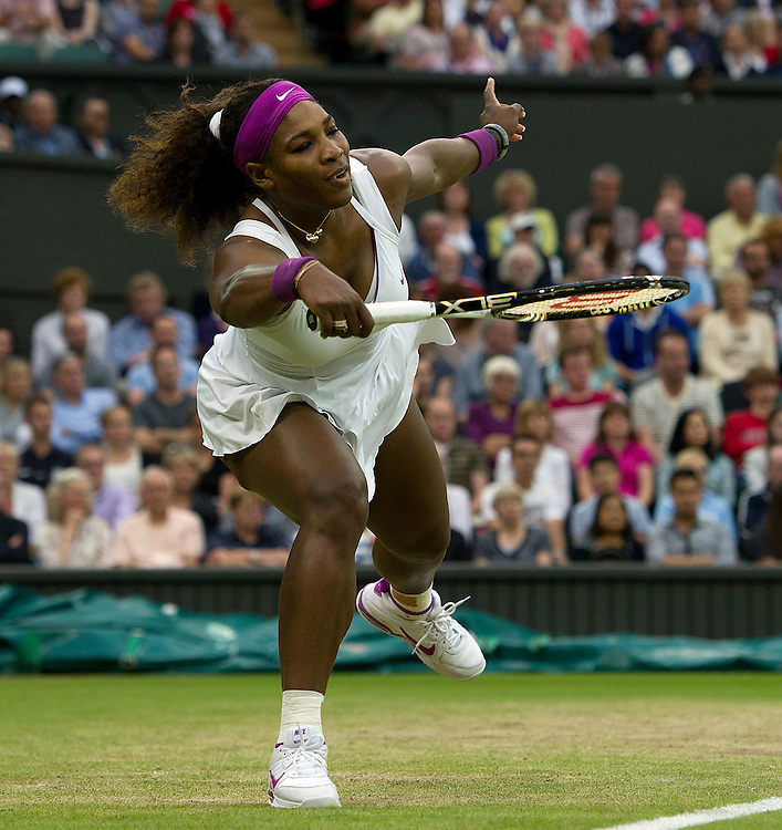 Serena Williams USA (6) in action today during her victory over Petra Kvitova CZE (4) in their Ladies' Singles Quarterfinals match - Serena Williams USA (6) def Petra Kvitova CZE (4) 6-3 7-5..Tennis - Wimbledon Lawn Tennis Championships - Day 8 - Tuesday 3rd July 2012 -  All England Lawn Tennis and Croquet Club - Wimbledon - London - England...