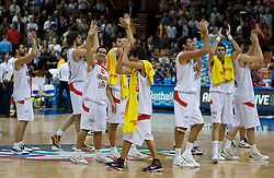 Team of Spain celebrate during the EuroBasket 2009 Semi-final match between Spain and Greece, on September 19, 2009, in Arena Spodek, Katowice, Poland.  (Photo by Vid Ponikvar / Sportida)