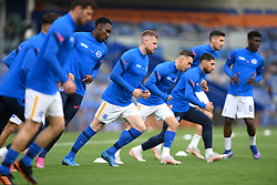 Brighton and Hove Albion players warming up before the Premier League match at the American Express Community Stadium, Brighton. Picture date: Saturday May 15, 2021.