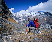 BHUTAN, TREKKING, LUNANA, Reubin Jr near  Karakachu La 5100m. pass, Table Mtns