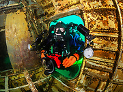 KISS Spirit rebreather diver enters the Aircraft Challenger 600 at Dutch Springs Quarry in Bethlehem, Pennsylvania