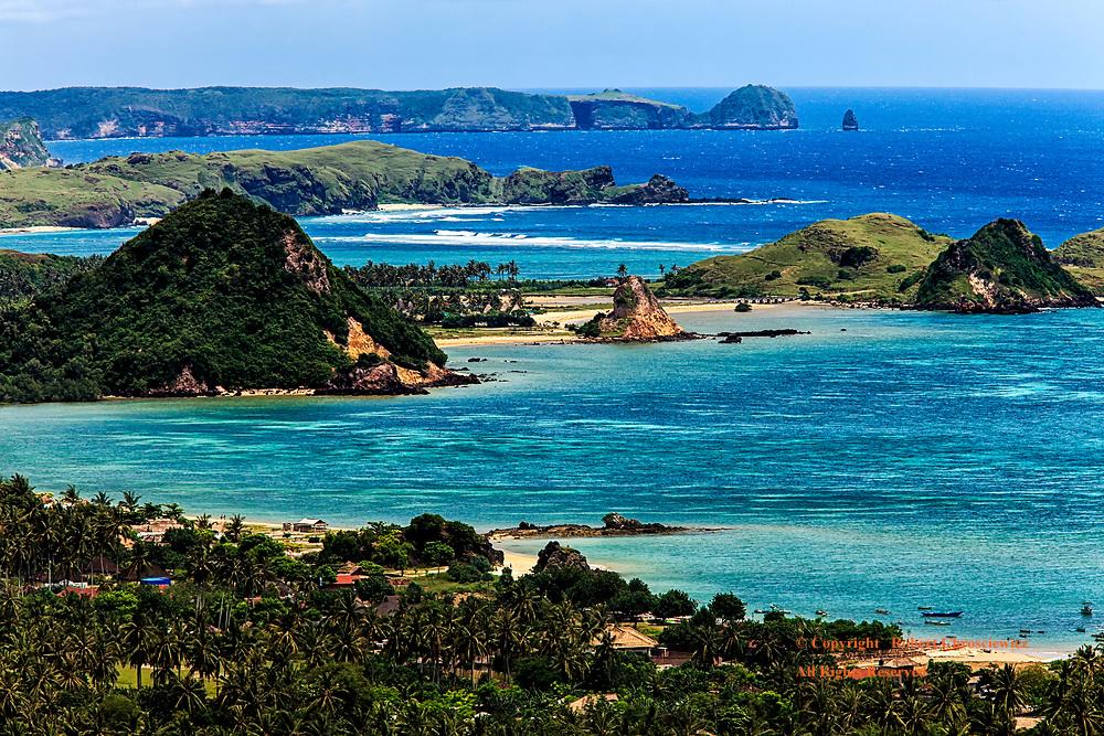 Kuta Lombok: Aerial view of the southern seas, beaches and village, Kuta Lombok Indonesia.