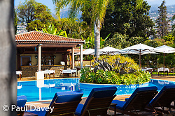 The swimming pool area of the Quinta Jardins da Lago Hotel in Funchal, Madeira. MADEIRA, September 25 2018. © Paul Davey