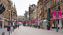 View of almost deserted Buchanan Street in Glasgow City Centre during Coronavirus Lockdown on 26 March 202, Scotland, UK,