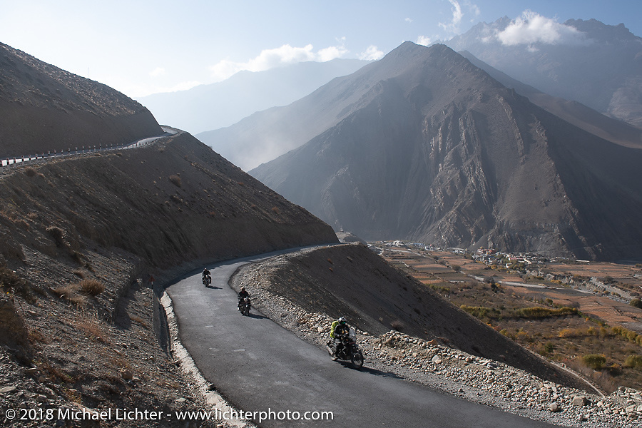 Scotty Busch, Rip Rolfsen and Sean Lichter heading up to 12,000' at the end of day-5  of our Himalayan Heroes adventure riding from Kalopani through the Mustang District to Muktinath, Nepal. Saturday, November 10, 2018. Photography ©2018 Michael Lichter.