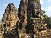 "The smiling face of Avalokitesvara at the Bayon Temple Also called ""Face Towers"". The Bayon is a richly decorated Khmer Buddhist temple at Angkor Thom."