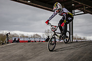 #406 (ANCELOT Roude) FRA at the 2018 UCI BMX Superscross World Cup in Saint-Quentin-En-Yvelines, France.