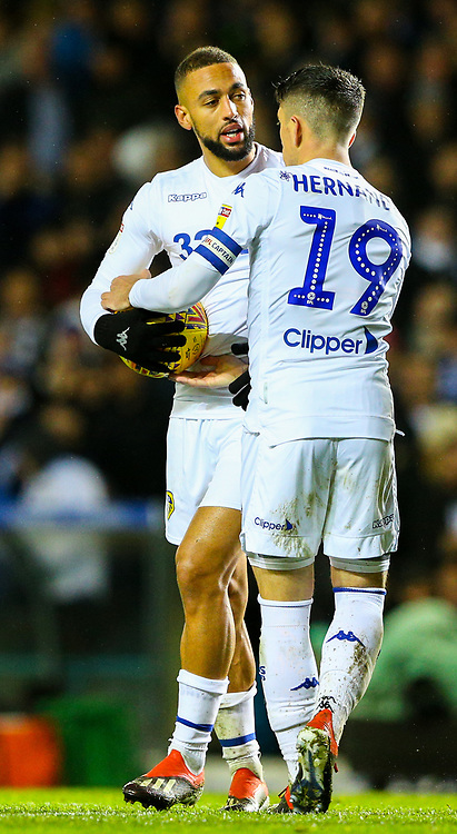 Leeds United's Kemar Roofe and Pablo Hernandez debate who will take the penalty<br /> <br /> Photographer Alex Dodd/CameraSport<br /> <br /> The EFL Sky Bet Championship - Leeds United v Queens Park Rangers - Saturday 8th December 2018 - Elland Road - Leeds<br /> <br /> World Copyright © 2018 CameraSport. All rights reserved. 43 Linden Ave. Countesthorpe. Leicester. England. LE8 5PG - Tel: +44 (0) 116 277 4147 - admin@camerasport.com - www.camerasport.com