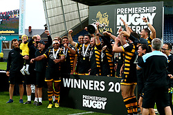 Wasps celebrate winning The 2017 Premiership Rugby 7s Competition by lifting the trophy - Mandatory by-line: Robbie Stephenson/JMP - 29/07/2017 - RUGBY - Franklin's Gardens - Northampton, England - Wasps v Newcastle Falcons - Singha Premiership Rugby 7s