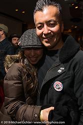 Kiyo Mitsuhiro Kiyonaga at the Dice Magazine Saturday night release party before the Annual Mooneyes Yokohama Hot Rod and Custom Show set-up day. Japan. Saturday, December 6, 2014. Photograph ©2014 Michael Lichter.