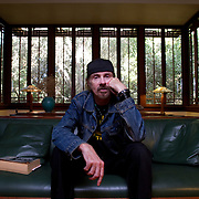 """Acclaimed author TC Boyle resides in a Frank Lloyd Wright home in Montecito, California. No publication rights provided. Please see """"Usage Rights."""" Please direct your licensing inquiries to info@ToddBigelowPhotography.com or LicensingCompliance@ToddBigelowPhotography.com. Thank you."""