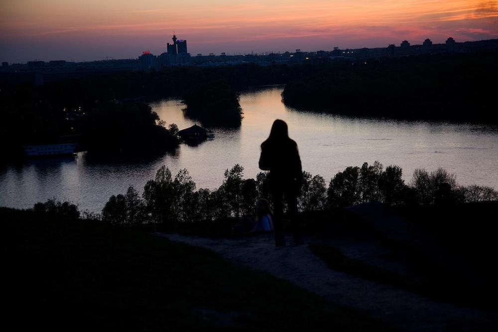 Scenes from Belgrade, Serbia..Spring sunset from Kalemegdan Fortress..