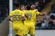 AFC Wimbledon defender Darius Charles (32) congratulates \AFC Wimbledon striker Andy Barcham (17)after his goal during the EFL Sky Bet League 1 match between Rochdale and AFC Wimbledon at Spotland, Rochdale, England on 27 August 2016. Photo by Stuart Butcher.