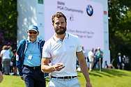 Jamie Dornan (fifty shades of grey) finishing the 18th hole during the Celebrity Pro-Am day at Wentworth Club, Virginia Water, United Kingdom on 23 May 2018. Picture by Phil Duncan.