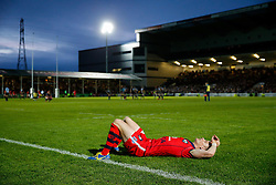 Bristol Rugby Scrum-Half Dwayne Peel (capt) looks dejected after Worcester score a converted try with the last play of the game to draw the match 30-30 and win by 1 point over the two legs to deny Bristol promotion to the Aviva Premiership - Photo mandatory by-line: Rogan Thomson/JMP - 07966 386802 - 27/05/2015 - SPORT - Rugby Union - Worcester, England - Sixways Stadium - Worcester Warriors v Bristol Rugby - Greene King IPA Championship Play-Off Final 2nd Leg.