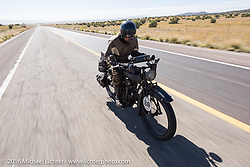 Shinya Kimura riding his Team-80 1915 Indian twin during the Motorcycle Cannonball Race of the Century. Stage-13 ride from Williams, AZ to Lake Havasu CIty, AZ. USA. Friday September 23, 2016. Photography ©2016 Michael Lichter.