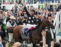 Flat Horse Racing - 2019 Investec Derby Festival - Friday, Day One (Ladies Day)<br /> <br /> Frankie Dettori on Anapurna celebrates as he comes into the winners enclosure, in the 16.30 investec Oaks (Group 1), at Epsom Racecourse.<br /> <br /> COLORSPORT/ANDREW COWIE