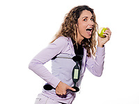 caucasian woman portrait isolated studio on white background<br /> Holding scale eating apple