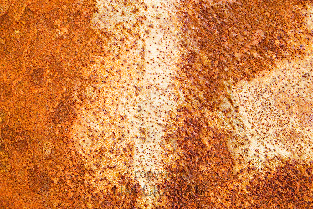 Rust on a burnt-out car, Oxfordshire, United Kingdom