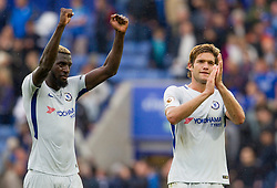 9 September 2017 - Premier League Football - Leicester City v Chelsea - Tiemoue Bakayoko and Marcos Alonso of Chelsea applaud the crowd at the end of the match - Photo: Chloe Knott