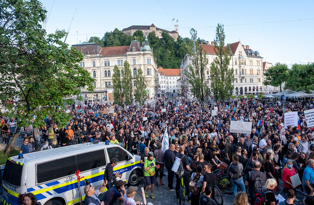 Ljubljana (Slovenia) Several thousand protesters marched in the centre of the Capital city to protest once more against the Government.<br /> FOR LICENSING THIS IMAGE CALL  +44 (0)744 6850855