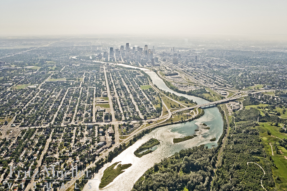 Aerial views of Calgary and Bow River area subdivisions and development