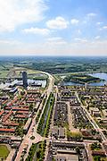 Nederland, Noord-Brabant, Den Bosch, 27-05-2013; Plan Zuid / De Pettelaar. Midden (li) Pettelaarseweg, gezien naar Provinciehuis en Zuiderplas. In het water de gerestaureerde Pettelaarse Schans.<br /> Stadsuitbreiding en nieuwbouwwijk uit de jaren vijftig en zestig van de vorige eeuw, wederopbouwperiode. Groen en ruim opgezet.<br /> New residential area built in the fifties and sixties in Den Bosch. Spacious and plentyful green areas.<br /> Reconstruction area.<br /> luchtfoto (toeslag op standard tarieven)<br /> aerial photo (additional fee required)<br /> copyright foto/photo Siebe Swart