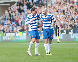 Reading's Danny Guthrie celebrates after scoring a goal from a free kick - Photo mandatory by-line: Nigel Pitts-Drake/JMP - Tel: Mobile: 07966 386802 28/09/2013 - SPORT - FOOTBALL - Madejski Stadium - Reading - Reading V Birmingham City - Sky Bet Championship