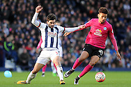 West Brom's Claudio Jacob (l) challenges Peterborough's Lee Angol (r). The Emirates FA Cup, 4th round match, West Bromwich Albion v Peterborough Utd at the Hawthorns stadium in West Bromwich, Midlands on Saturday 30th January 2016. pic by Carl Robertson, Andrew Orchard sports photography.
