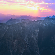 Above the noted cirque Horseshoe Basin high up in the Cascade Range in North Cascades National Park, WA.