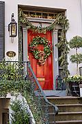 Christmas decorations on a historic home in Savannah, GA.