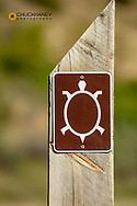 Trail marker on the Maah Daah Hey Trail in the Little Missouri National Grasslands, North Dakota, USA MR