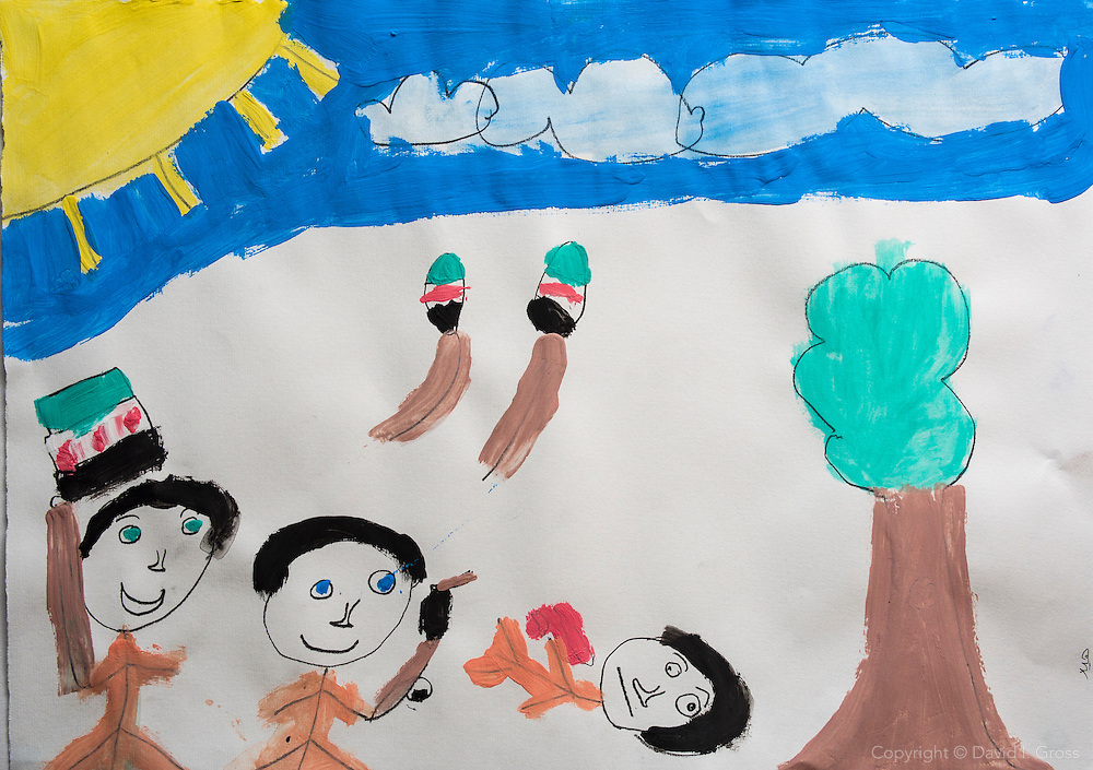 A drawing of a dream for the future by a Syrian refugee child, in which he shoots Bashar al-Assad, the president of Syria.