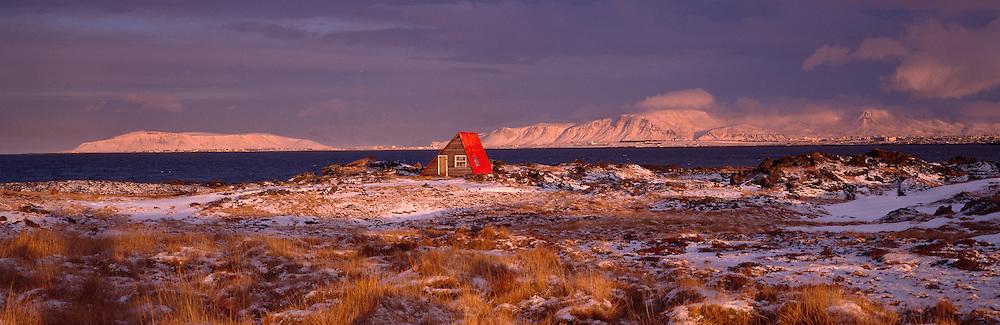 Straumsvik, Hafnarfjordur, Iceland, Reykjavik in distance - Straumsvík í Hafnarfirði með Reykjavík í baksýn