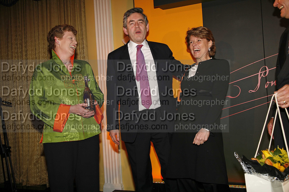 Vivienne Cox, Gordon Brown and  Cecile Bonneford , Veuve Cliquot Award.- Business Woman of the Year. claridge's. London. 27 April 2006. ONE TIME USE ONLY - DO NOT ARCHIVE  © Copyright Photograph by Dafydd Jones 66 Stockwell Park Rd. London SW9 0DA Tel 020 7733 0108 www.dafjones.com